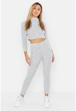 Womens Grey Petite Roll Neck and Legging Knitted Loungewear Set