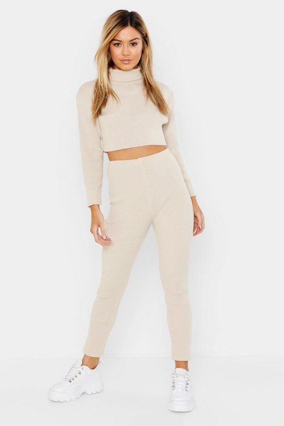 Womens Stone Petite Roll Neck and Legging Knitted Loungewear Set