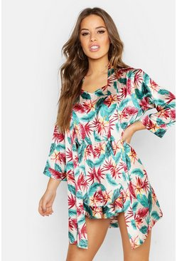 Womens Blush Petite Tropical Print Satin Robe