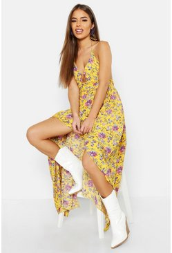 Womens Mustard Petite Floral Strappy Halterneck Maxi Dress