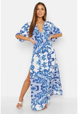 Womens Blue Petite Plunge Kimono Sleeve Printed Maxi Dress