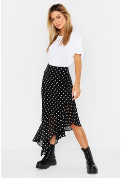 Womens Black Petite Polka Dot Ruffle Hem Midi Skirt