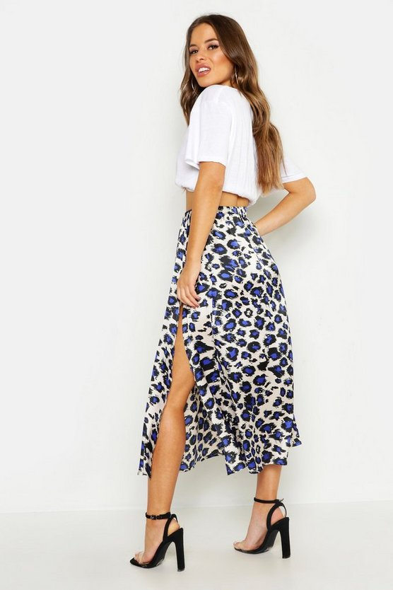 Petite Leopard Print Satin Side Split Midi Skirt