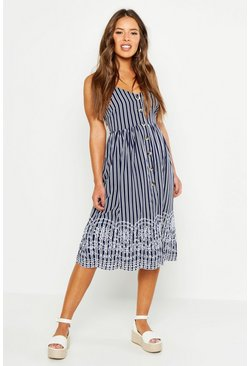 Womens Navy Petite Stripe Embroidered Hem Midi Dress