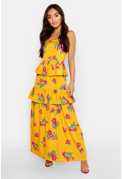 Womens Mustard Petite Floral Print Ruffle Detail Maxi Dress