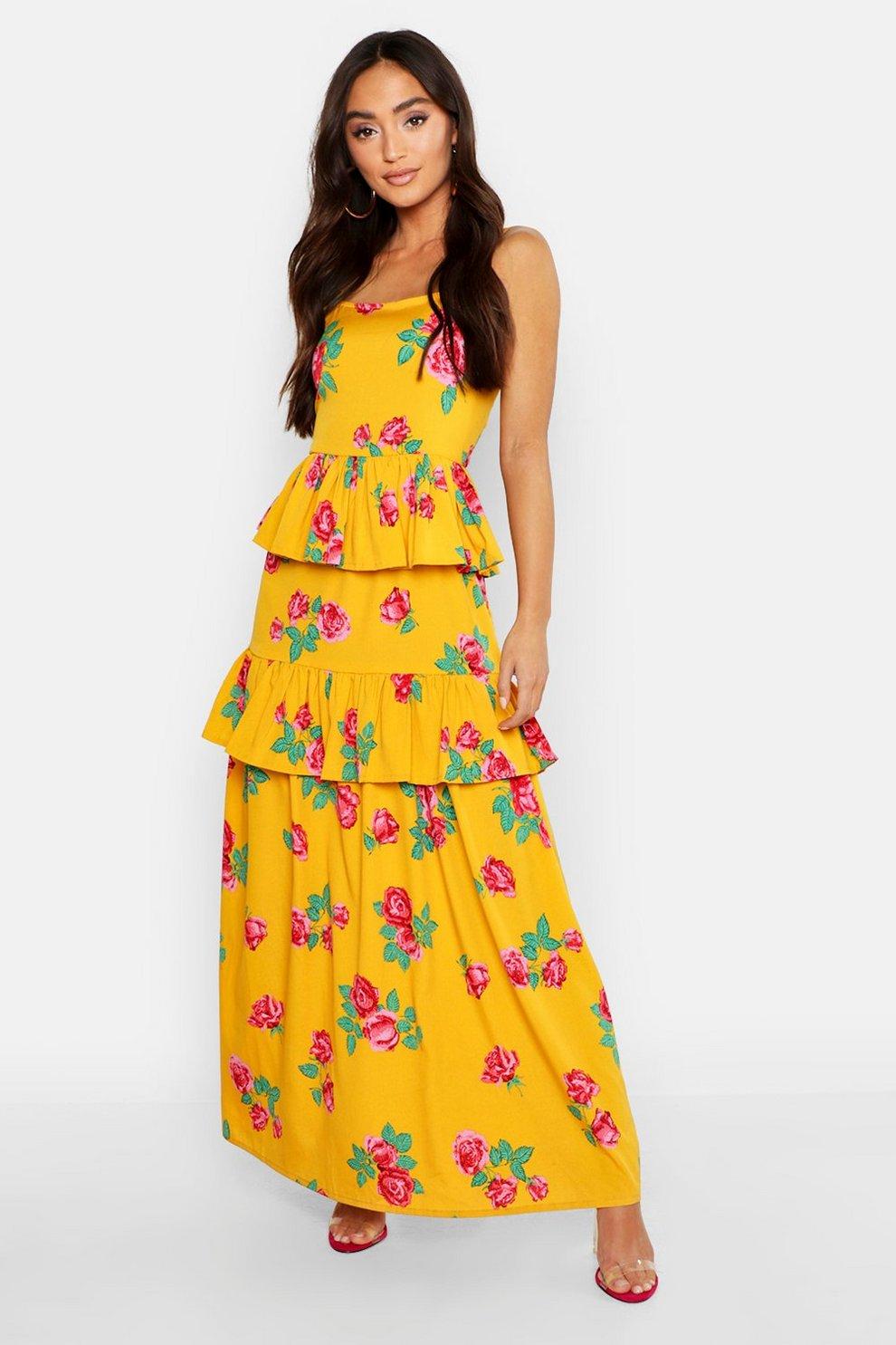 91f40c9f67f Petite Floral Print Ruffle Detail Maxi Dress