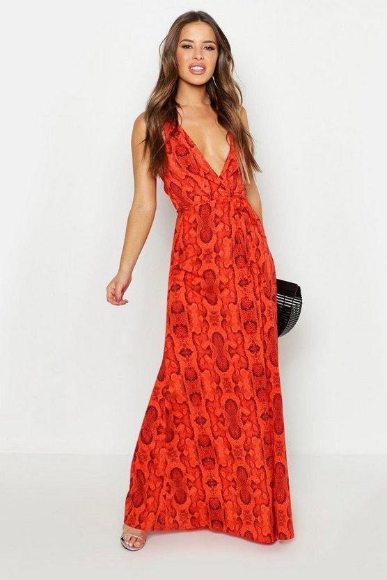 Petite Snake Print Tie Wrap Maxi Dress