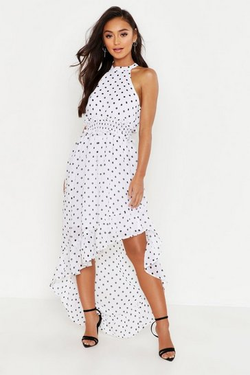 b843fbff9 Womens White Petite Polka Dot High Neck Shirred Waist Maxi Dress