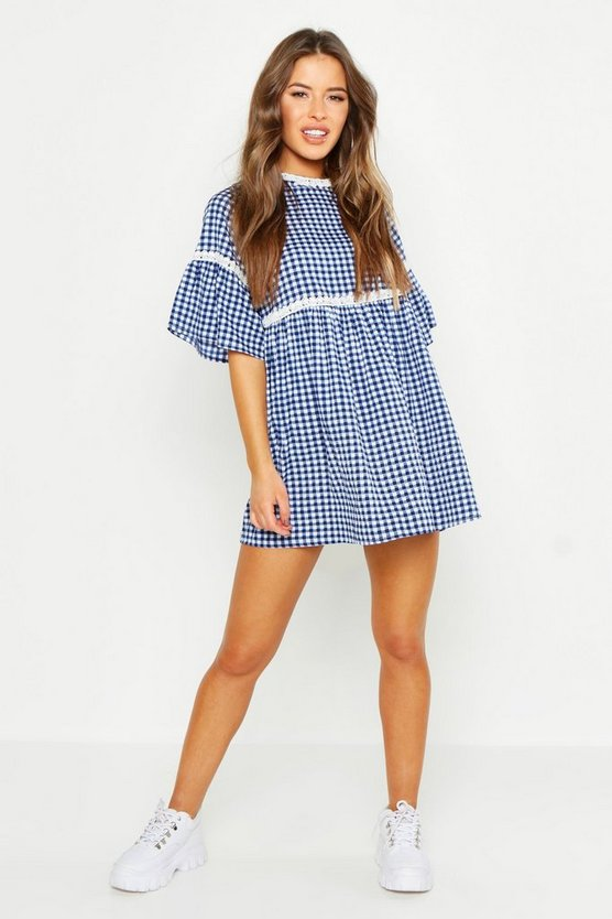 Womens Blue Petite Gingham Print Smock Dress