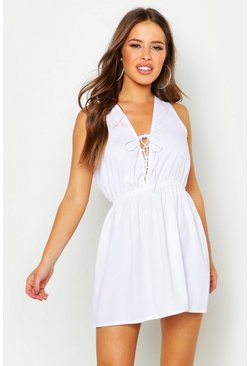 Womens White Petite Lace Up Skater Dress