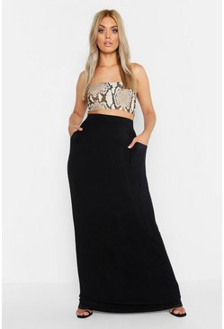 Womens Black Plus Pocket Front Jersey Maxi Skirt