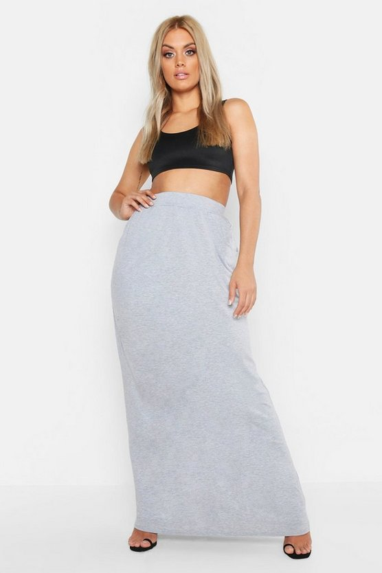 Womens Grey Plus Pocket Front Jersey Maxi Skirt