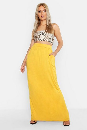 Womens Mustard Plus Pocket Front Jersey Maxi Skirt