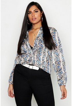 Womens Blue Plus Satin Leopard Collarless Oversized Shirt