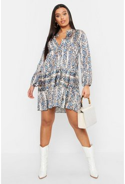 Plus Snakeskin Print Smock Dress, Blue, Donna