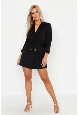 Plus Double Breast Gold Button Blazer Dress, Black, Donna