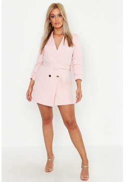 Plus Double Breast Gold Button Blazer Dress, Blush, Donna