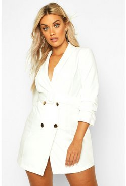 Plus Double Breast Gold Button Blazer Dress, White