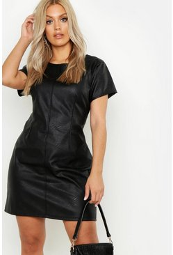 Plus PU Cap Sleeve Shift Dress, Black