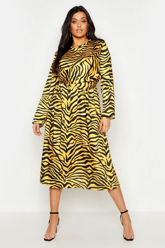 Plus Knot Front Zebra Midi Dress