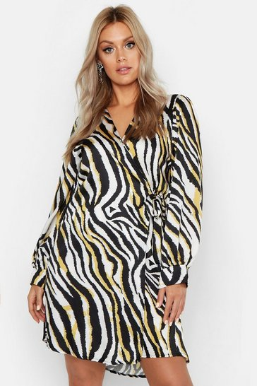 Womens Cream Plus Zebra Printed Satin Wrap Dress