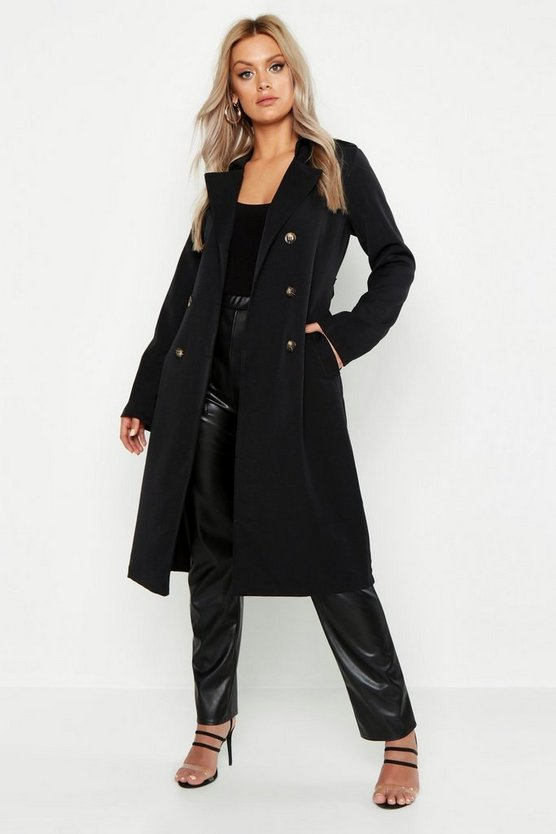 Plus Button Detail Oversized Trench Coat, Black, Donna