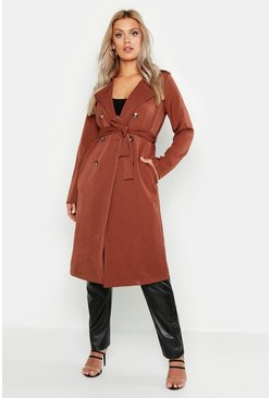 Womens Camel Plus Button Detail Oversized Trench Coat