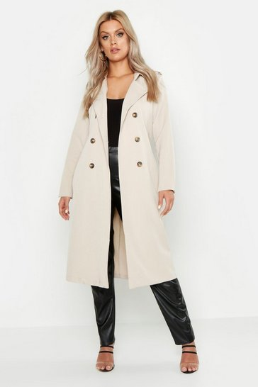 Womens Stone Plus Button Detail Oversized Trench Coat