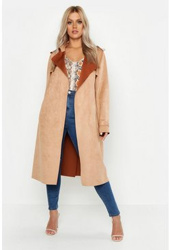 Womens Camel Plus Soft Faux Suede Trench Coat