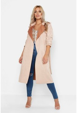 Womens Stone Plus Soft Faux Suede Trench Coat