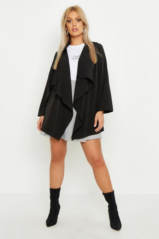 Womens Black Plus Waterfall Trench Coat