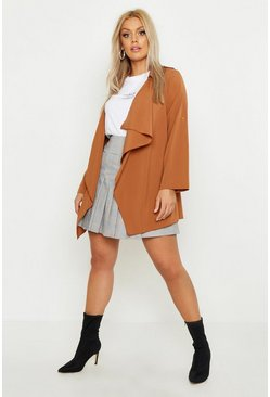 Womens Camel Plus Waterfall Trench Coat