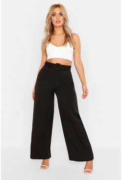 Womens Black Plus Belted Wide Leg Trouser