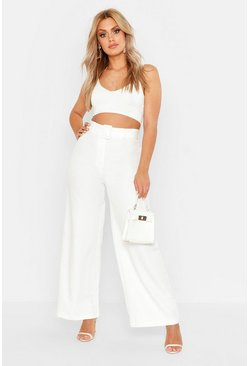 Womens White Plus Belted Wide Leg Trouser