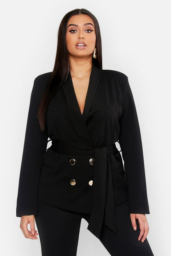 Womens Black Plus Double Breasted Wrap Blazer
