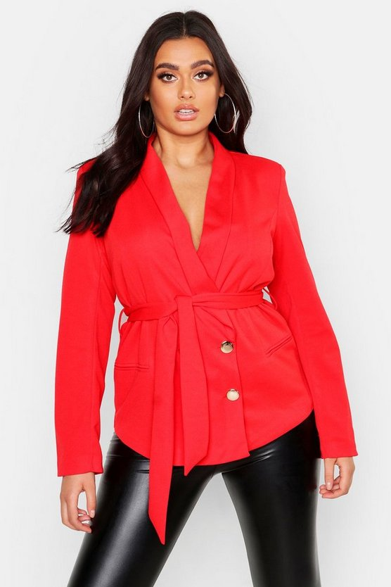 Womens Red Plus Double Breasted Wrap Blazer