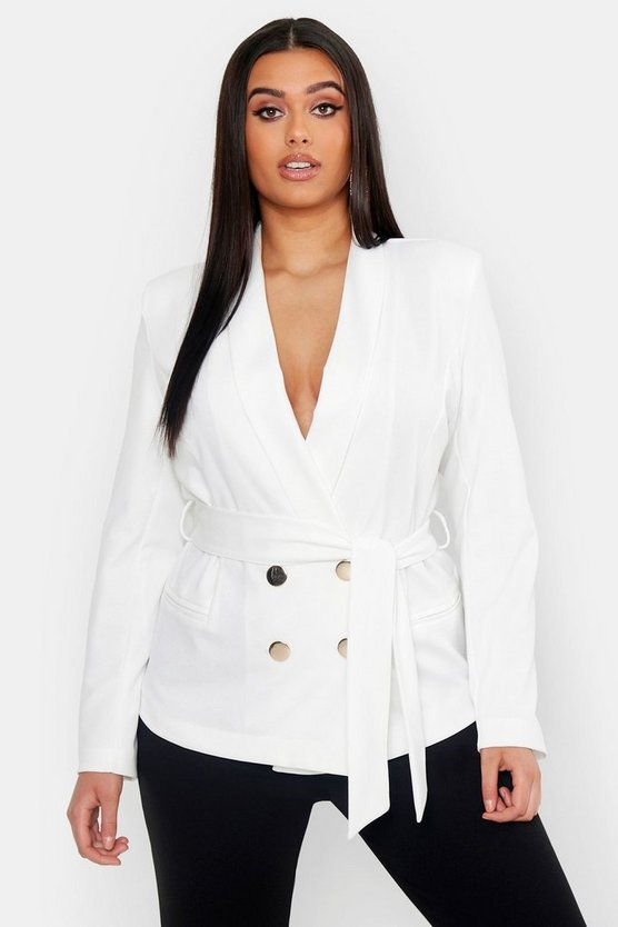 Womens White Plus Double Breasted Wrap Blazer