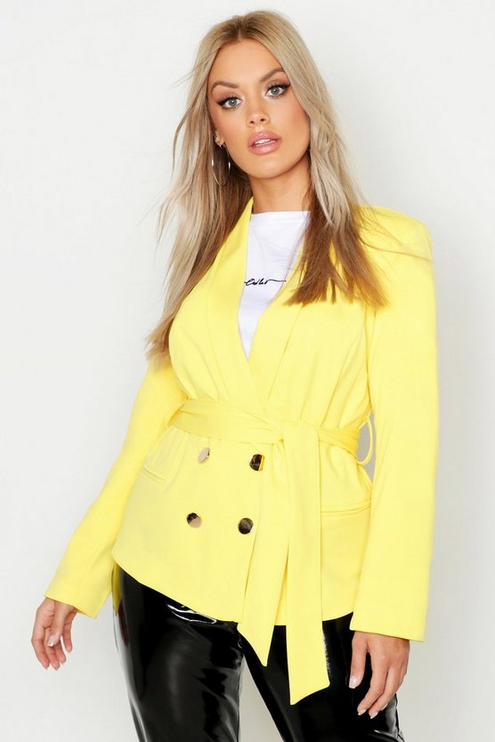 Womens Yellow Plus Double Breasted Wrap Blazer