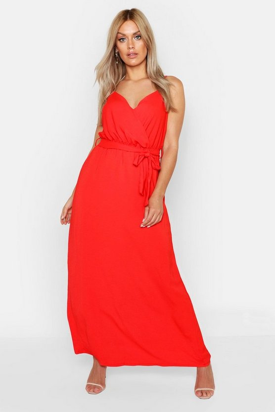 Womens Red Plus Linen Look Wrap Front Maxi Dress