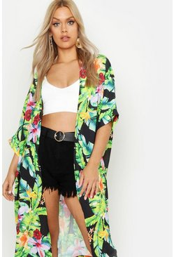 Womens Black Plus Tropical Palm Printed Kimono