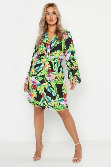 Womens Black Plus Tropical Print Twist Front Skater Dress