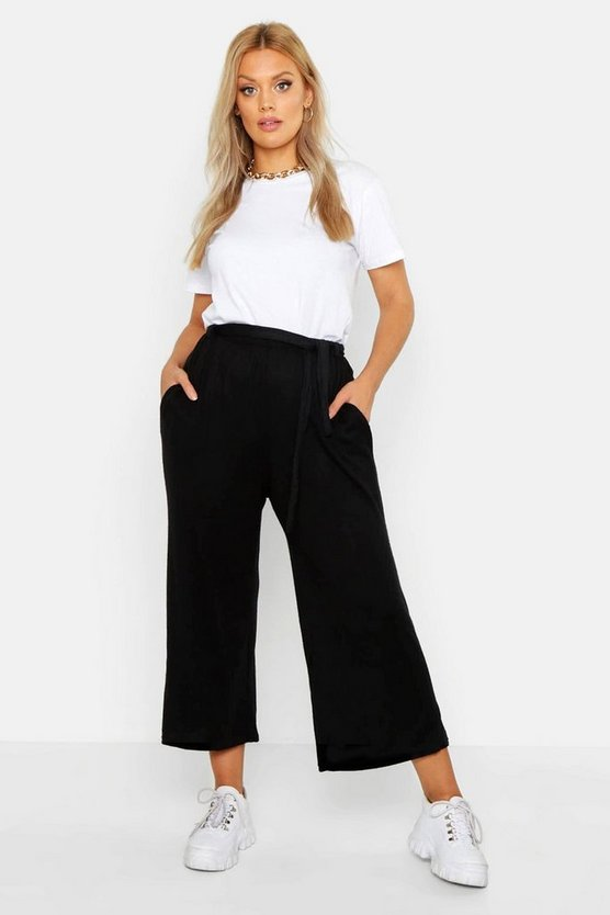 Womens Black Plus Knitted Tie Waist Culottes
