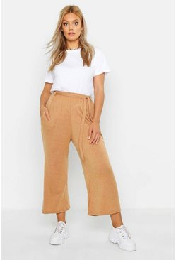 Womens Rust Plus Knitted Tie Waist Culottes