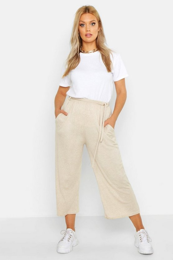 Womens Stone Plus Knitted Tie Waist Culottes