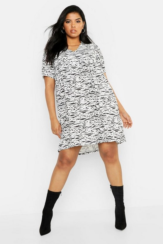 Plus Tiger Printed Smock Dress