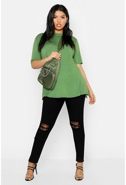 Plus Premium Split Back Oversized T-Shirt, Khaki, Donna