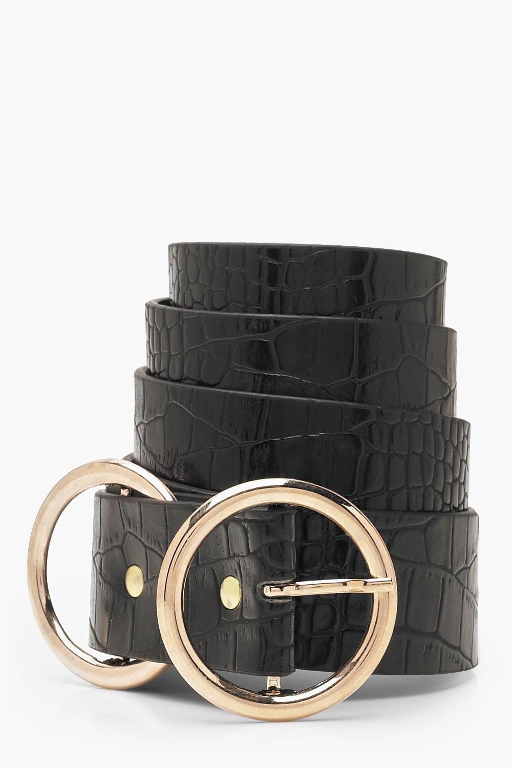 Plus Double Ring Faux Croc Belt