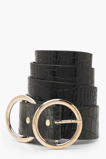 Womens Gold Plus Double Ring Faux Croc Belt