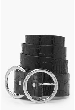 Womens Silver Plus Double Ring Faux Croc Belt