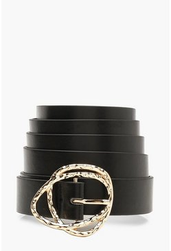 Womens Black Plus Gold Buckle Boyfriend Belt